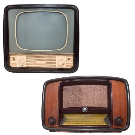 Retro TV and radio on a white background photo