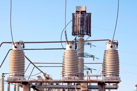 alternating: power station against the blue sky Stock Photo