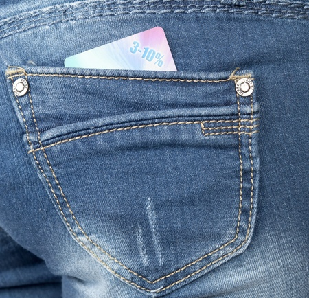 jeans pocket with a discount card Stock Photo - 9491592