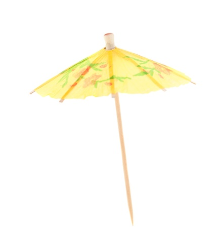 toothpick: umbrella for cocktails on a white background