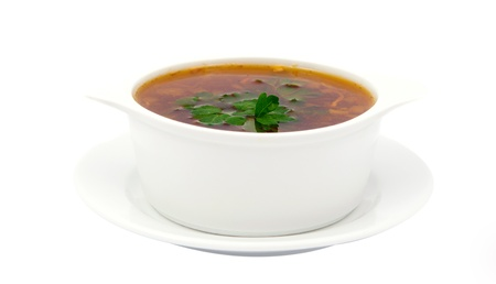 chicken soup on a white background photo