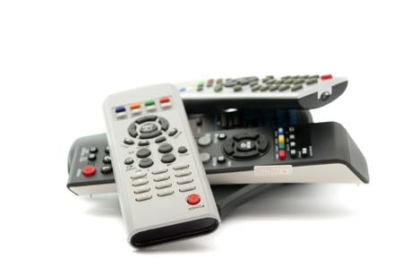 equipo de sonido: TV remota sobre un fondo blanco Foto de archivo