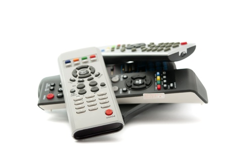 home theatre: TV remote on a white background