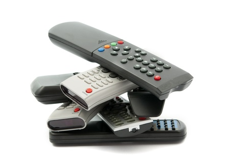 audiovisual: TV remote on a white background