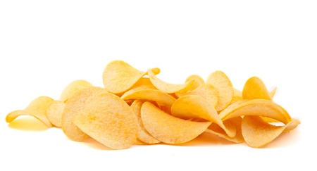unhealthy snack: potato chips on white background