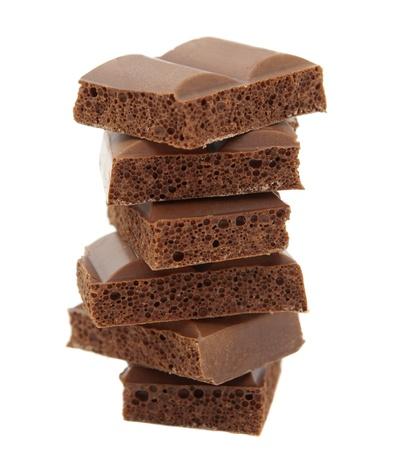 porous: porous chocolate on white background Stock Photo