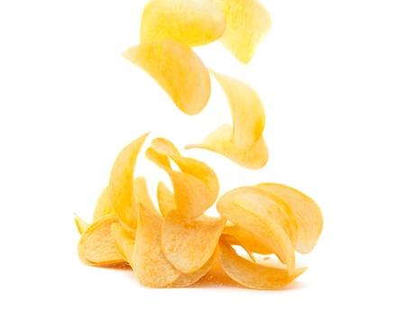 tentempi�: papas fritas en fondo blanco