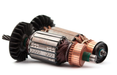 axle: Copper Coils inside Electric Motor on a white background Stock Photo