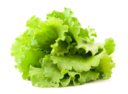 lettuces: lettuce leaves on a white background Stock Photo