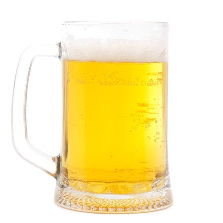 glass of beer on white background photo