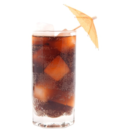 a glass of soda with ice on a white background photo