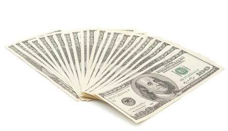 dollars on a white background photo