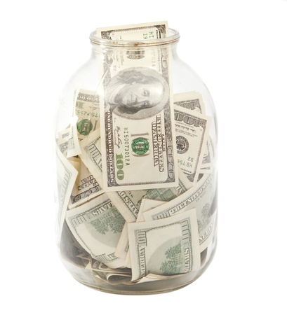 dollars in the bank on a white background photo