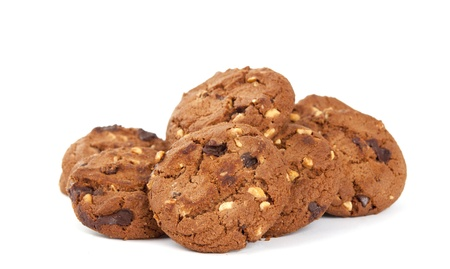 baking cookies: cookies with nuts and chocolate on a white background