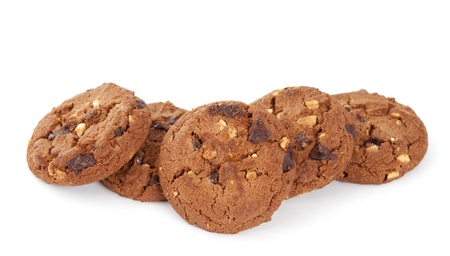 cookies with nuts and chocolate on a white background Stock Photo - 10129291