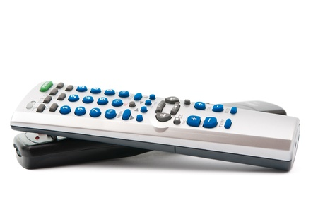 changing channels: TV remote control on a white background Stock Photo