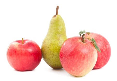 pear and apple on a white background Stock Photo - 10367084