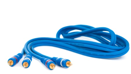 audio video cable on white background photo