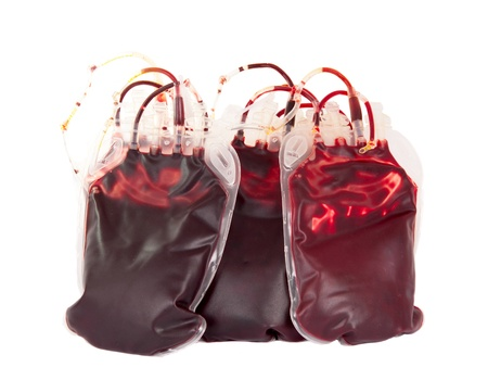 blood supply: bag of blood on a white background