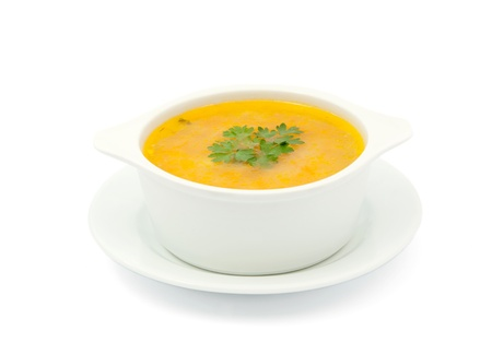 broth: soup on a white background Stock Photo