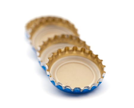 non alcoholic beverage: Cover of beer on white background Stock Photo