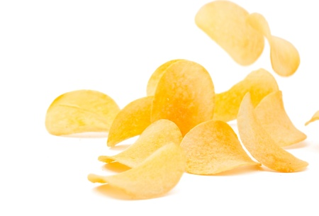 crisps: potato chips on a white background