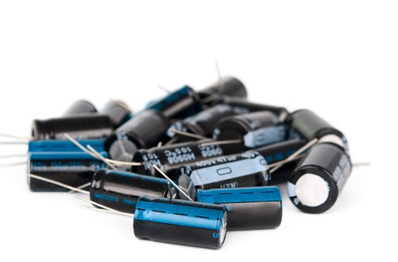 Capacitors: capacitors on a white background Stock Photo
