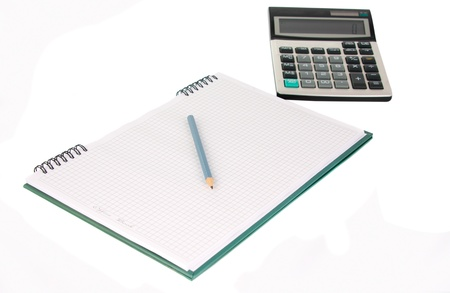 Office book with a pencil and a calculator on a white background photo