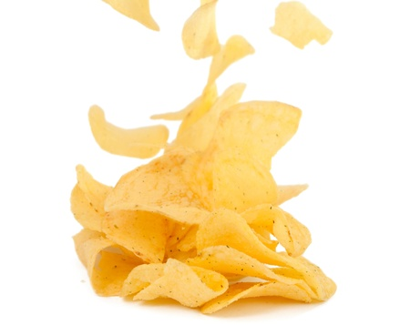 potato chips: potato chips on a white background