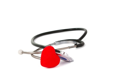 heartrate: stethoscope on white background