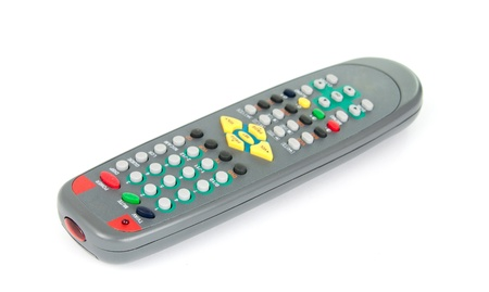 gray remote control on white background photo