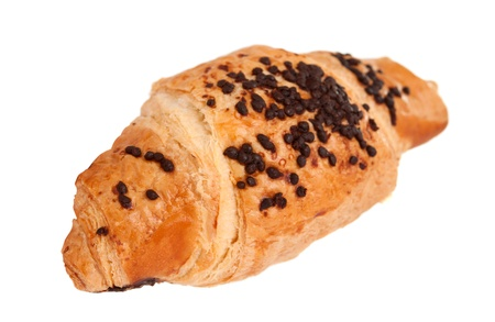 french bakery: croissant  with chocolate on a white background Stock Photo
