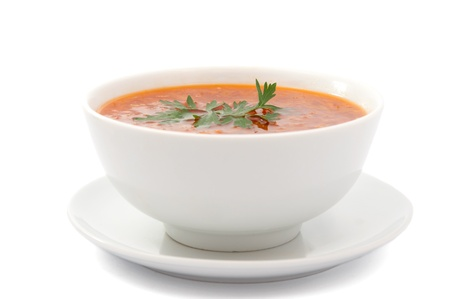 soup on a white background photo