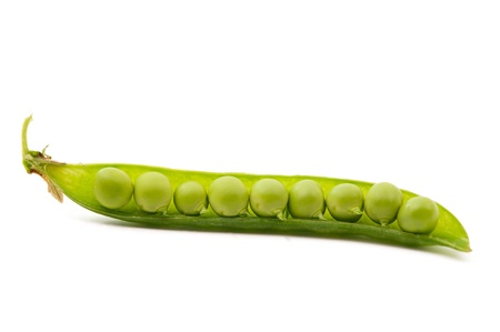 peas in a pod: pod of peas on white background