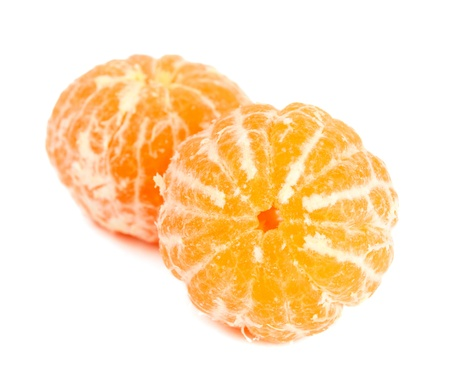 tangerine on white background photo