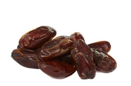 deglet: dates fruit on white background Stock Photo