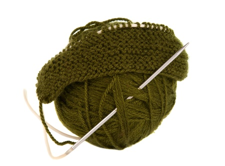a ball of thread to knitting on a white background photo