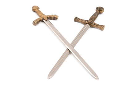 cross armed: swords isolated on white background Stock Photo