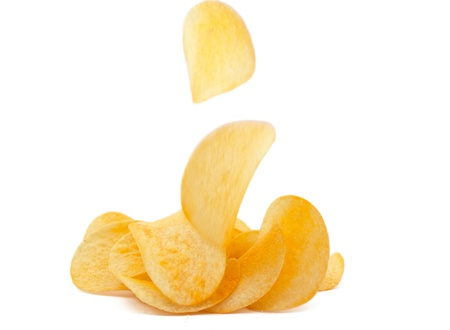 crisps: potato chips on white background