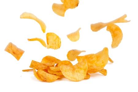 potato crisps: potato chips on a white background