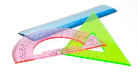ruler, protractor, a triangle on white background Stock Photo - 12360644