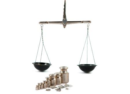 balanza de laboratorio: Un juego de pesas de precisi�n para una balanza.