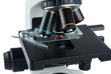 microscope isolated on white background photo