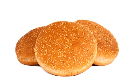 buns with sesame seeds on a white background Stock Photo - 12861312