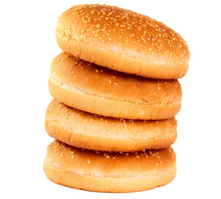 buns with sesame seeds on a white background photo