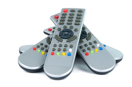 Gray TV remotes isolated on white background
