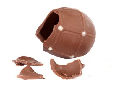 cracked chocolate egg isolated on white Stock Photo - 13063740