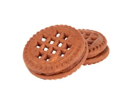 cream cookies isolated on white Stock Photo - 13063748