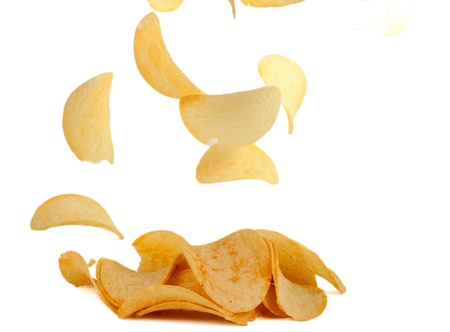 potato chips on white background Stock Photo - 13126880