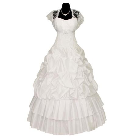 Hochzeitskleid auf weißem Hintergrund